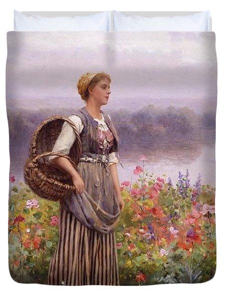 The Flower Girl Daniel Ridgway Knight Duvet Cover