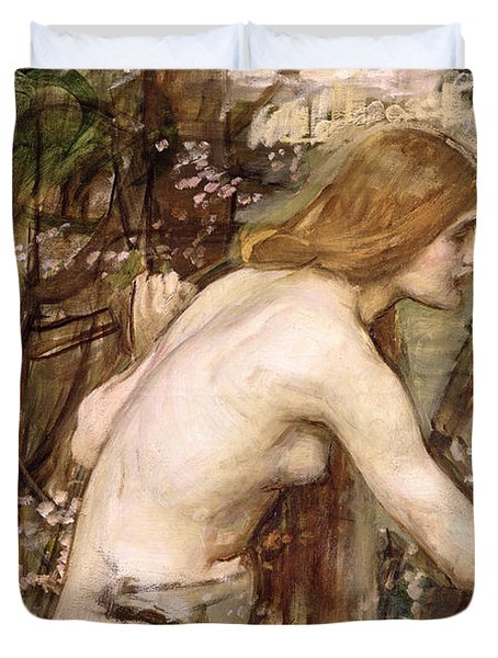 The Flower Picker  Duvet Cover by John William Waterhouse