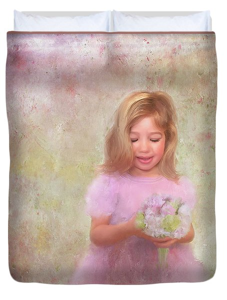 Duvet Cover featuring the mixed media The Flower Princess by Colleen Taylor