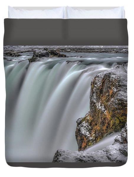 The Flowing Godafoss Falls Duvet Cover