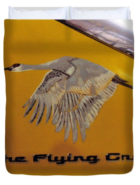 Duvet Cover featuring the painting The Flying Crane by Richard Le Page