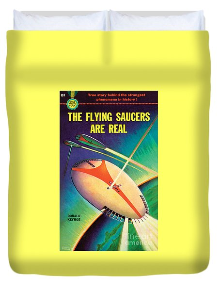 Duvet Cover featuring the painting The Flying Saucers Are Real by Frank Tinsley