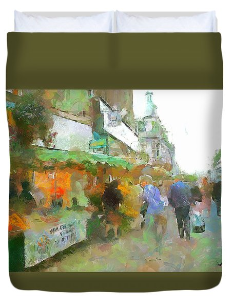 Duvet Cover featuring the painting The Food Fair by Wayne Pascall