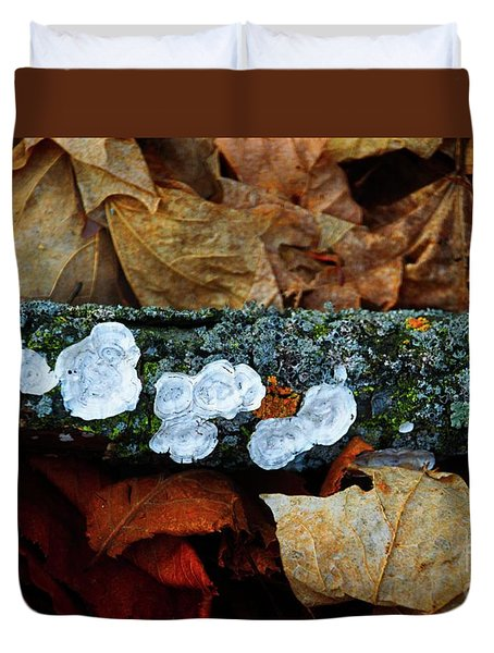 Duvet Cover featuring the photograph The Forest Floor - Cascade Wi by Mary Machare