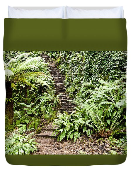 The Forest Stairwell Duvet Cover by Rae Tucker