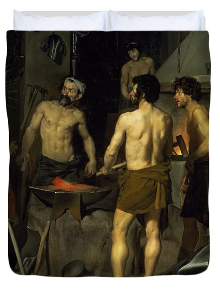 The Forge Of Vulcan Duvet Cover by Diego Velazquez