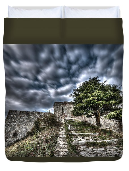 Duvet Cover featuring the photograph The Fortress The Tree The Clouds by Enrico Pelos