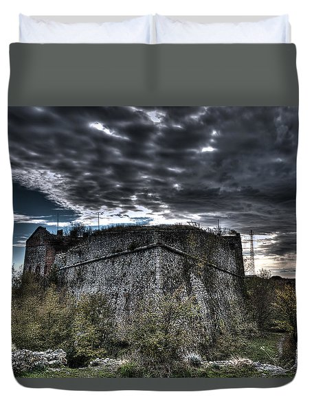 Duvet Cover featuring the photograph The Fortress The Trees The Clouds by Enrico Pelos