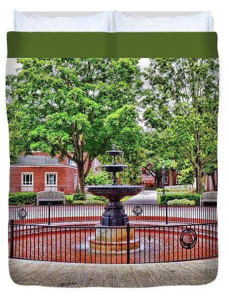 Duvet Cover featuring the photograph The Fountain At Radford University by Kerri Farley
