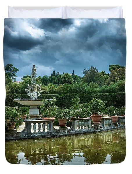 The Fountain Of The Ocean At The Boboli Gardens Duvet Cover