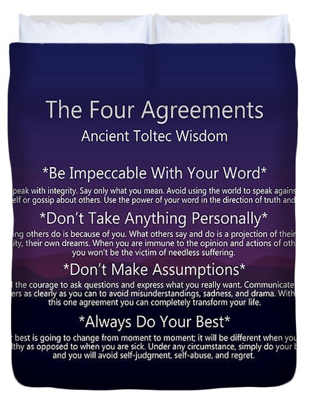 The Four Agreements Poster Duvet Cover