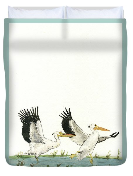 The Fox And The Pelicans Duvet Cover