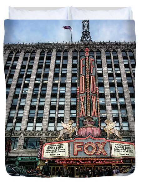 The Fox Theatre In Detroit Welcomes Charlie Sheen Duvet Cover by Gordon Dean II