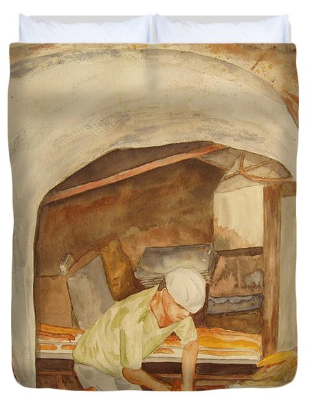Duvet Cover featuring the painting The French Baker by Vicki  Housel