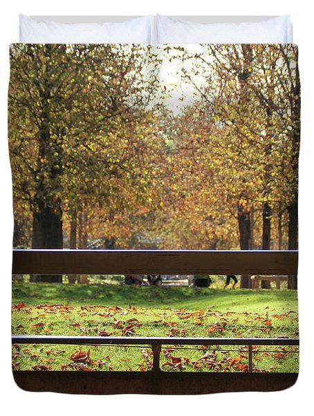 Duvet Cover featuring the photograph The French Bench And The Autumn by Yoel Koskas