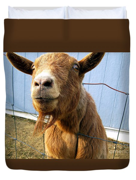 The Friendly Goat  Duvet Cover by Sandra Church