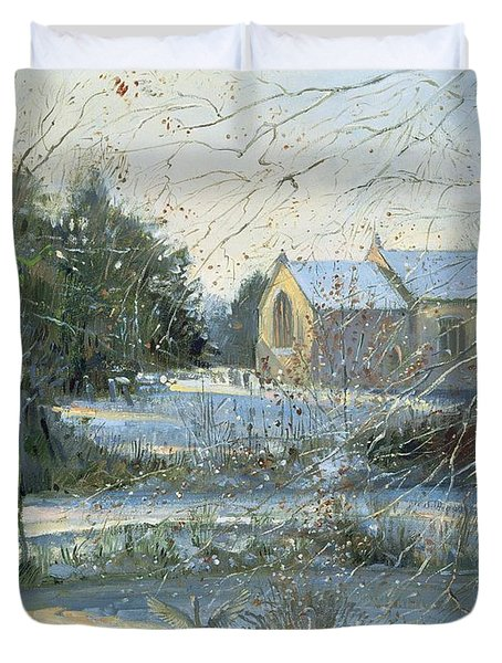 The Frozen Moat - Bedfield Duvet Cover by Timothy Easton