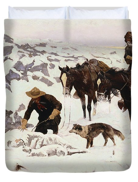 The Frozen Sheepherder Duvet Cover by Frederic Remington