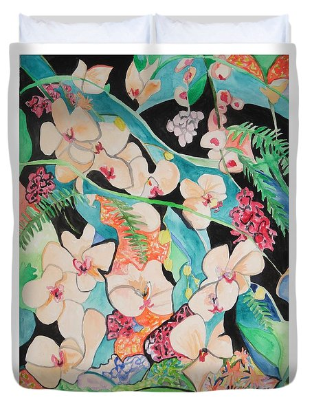 The Gallery Of Orchids 1 Duvet Cover by Esther Newman-Cohen