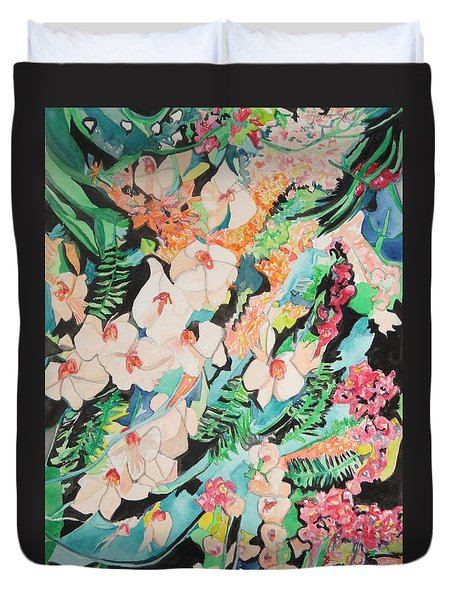 Duvet Cover featuring the painting The Gallery Of Orchids 2 by Esther Newman-Cohen