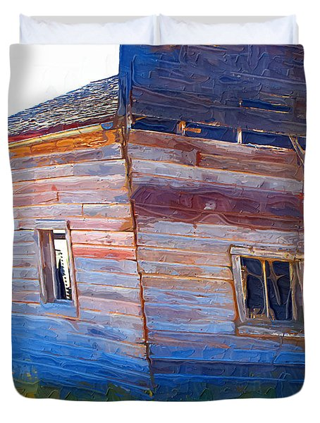 Duvet Cover featuring the photograph The Garage by Susan Kinney