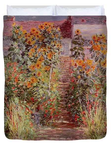 The Garden At Vetheuil Duvet Cover By Claude Monet