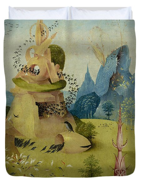 The Garden Of Earthly Delights, Detail Of Left Panel Showing Paradise Duvet Cover