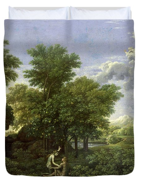The Garden Of Eden Duvet Cover by Nicolas Poussin