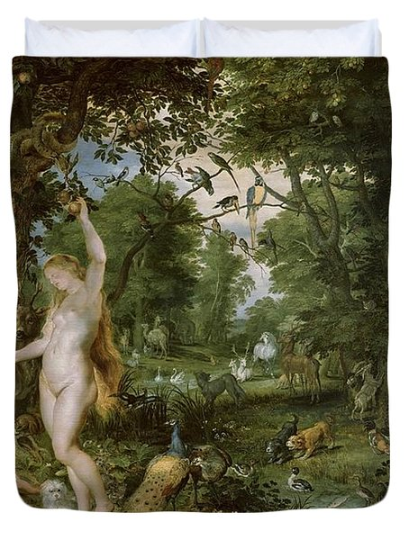 The Garden Of Eden With The Fall Of Man Duvet Cover by Jan Brueghel and Rubens