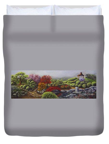 The Garden Of Koan Duvet Cover by Laurie Golden