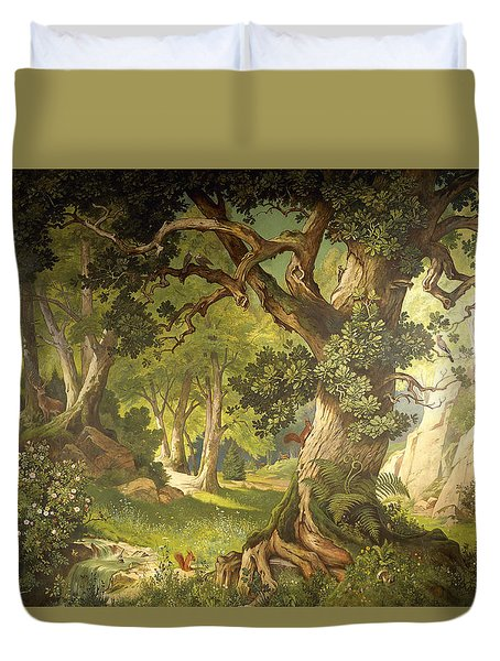 The Garden Of The Magician Klingsor, From The Parzival Cycle, Great Music Room Duvet Cover