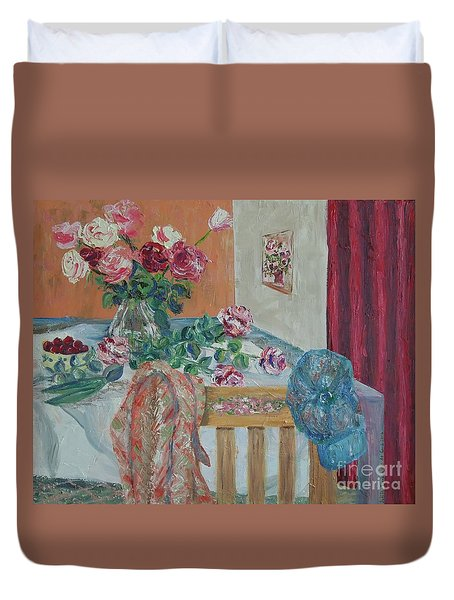 The Gardener's Table Duvet Cover by Judith Espinoza