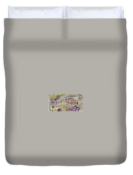 Duvet Cover featuring the painting The Gardner by Marti McGinnis