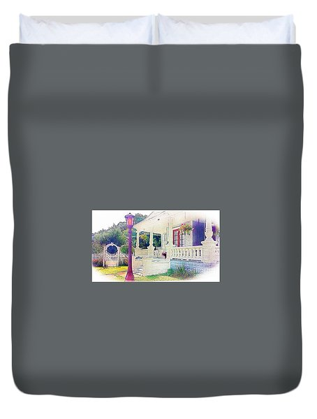 Duvet Cover featuring the photograph The Gate Porch And The Lamp Post by Becky Lupe