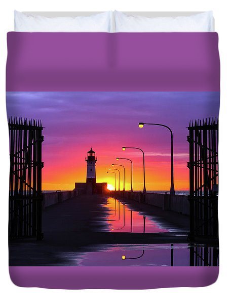 Duvet Cover featuring the photograph The Gates Of Dawn by Mary Amerman