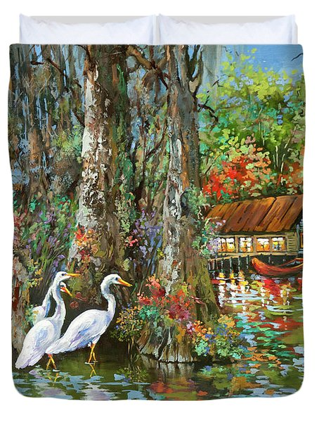 The Gathering - Louisiana Swamp Life Duvet Cover by Dianne Parks