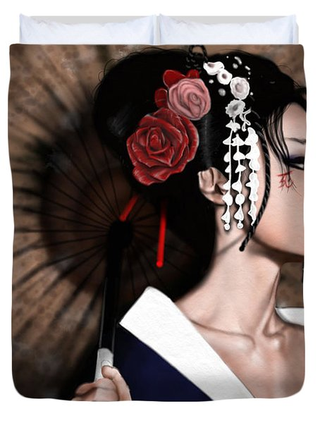 The Geisha Duvet Cover by Pete Tapang