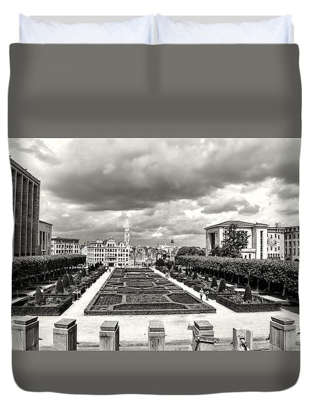 The Geometric Garden In Black And White Duvet Cover