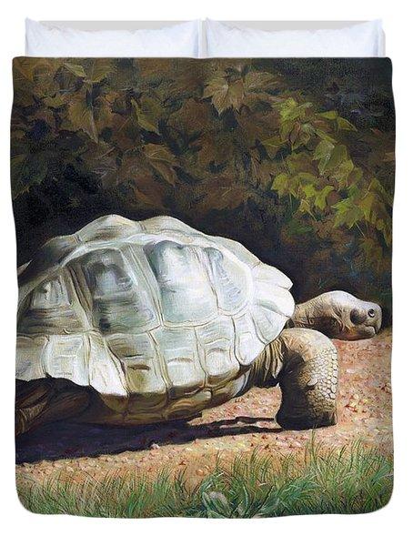 The Giant Tortoise Is Walking Duvet Cover