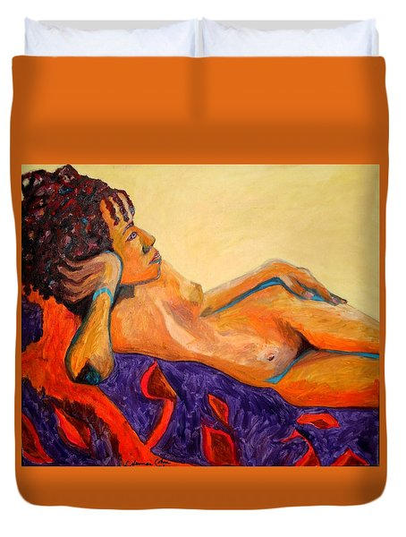 Duvet Cover featuring the painting The Girl From Ipanima by Esther Newman-Cohen