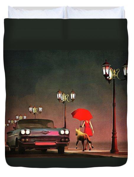 The Girl In Red Duvet Cover