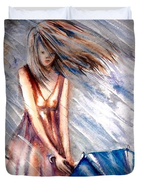 The Girl With A Blue Umbrella Duvet Cover