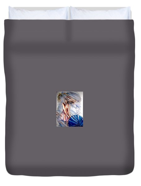 The Girl With A Blue Umbrella Duvet Cover
