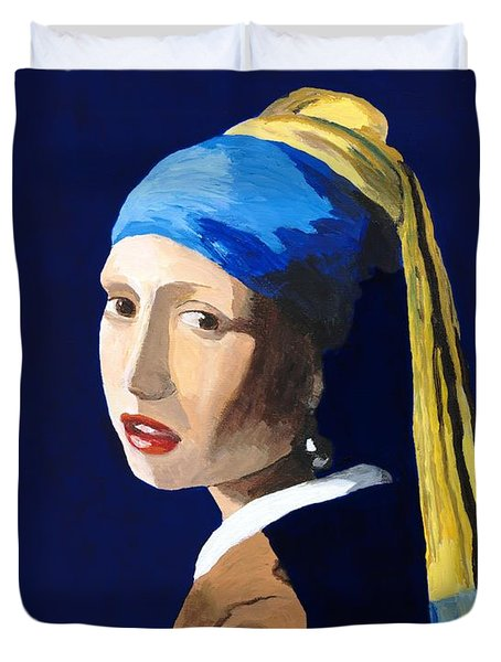 Duvet Cover featuring the painting The Girl With A Pearl Earring After Vermeer by Rodney Campbell