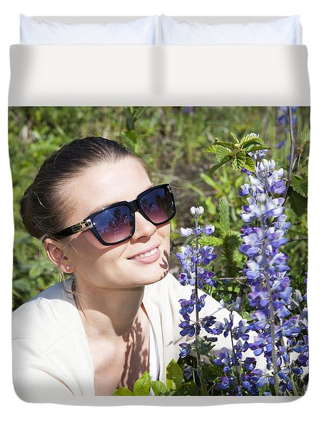 The Girl With Blue Flowers Duvet Cover