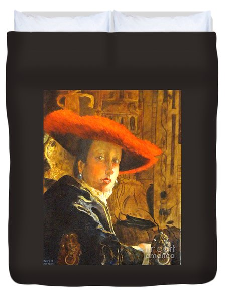 The Girl With The Red Hat After Jan Vermeer Duvet Cover