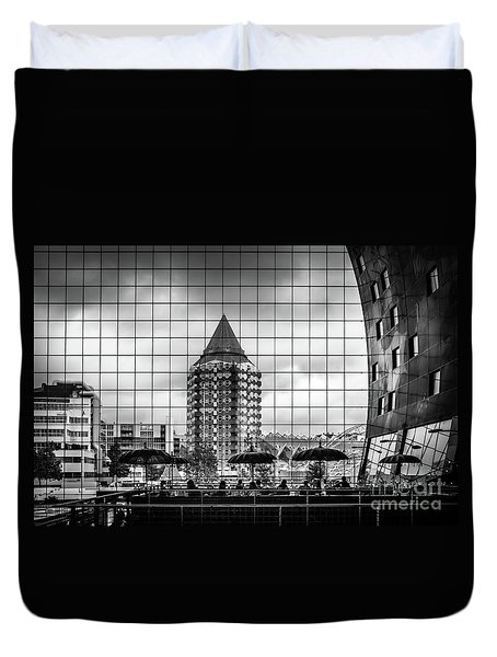 Duvet Cover featuring the photograph The Glass Windows Of The Market Hall In Rotterdam by RicardMN Photography