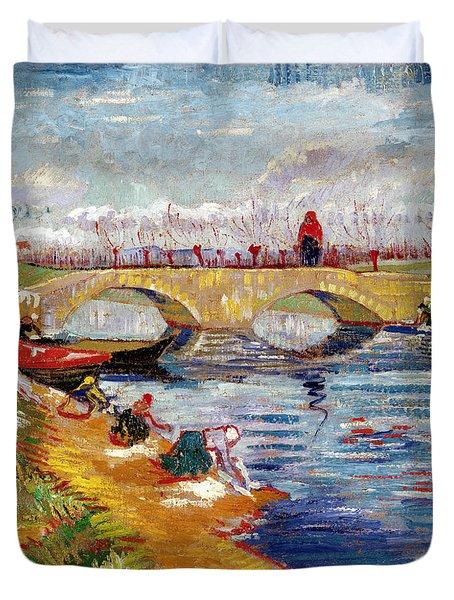 The Gleize Bridge Over The Vigneyret Canal  Duvet Cover by Vincent van Gogh