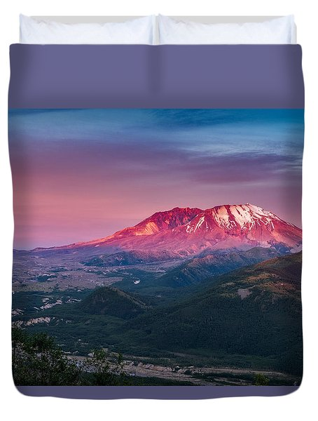 The Glow At Mt St Helens Duvet Cover by Ken Stanback