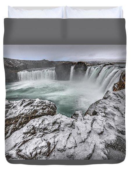 The Godafoss Falls In Winter Duvet Cover